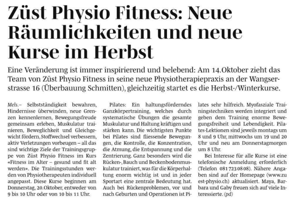 Zeitungsbericht vom 23. September 2016 :: Züst Physio Fitness Mels
